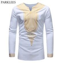 Men Swag Style African Dashiki T Shirts Stylish Gold Metallic Casual Long Sleeve 3D Tshirt Men Harajuku Hip Hop Camisetas Hombre