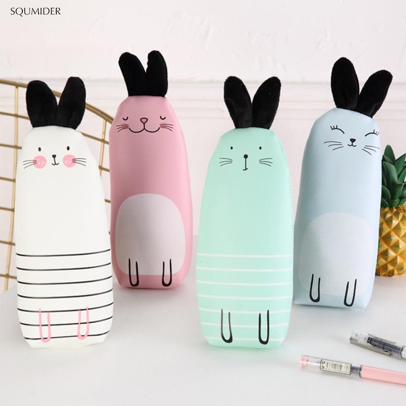 Estuche creativo de piel sintética con cremallera para lápices con diseño de conejo, estuche sencillo para bolígrafos para niños y niñas, material de papelería escolar