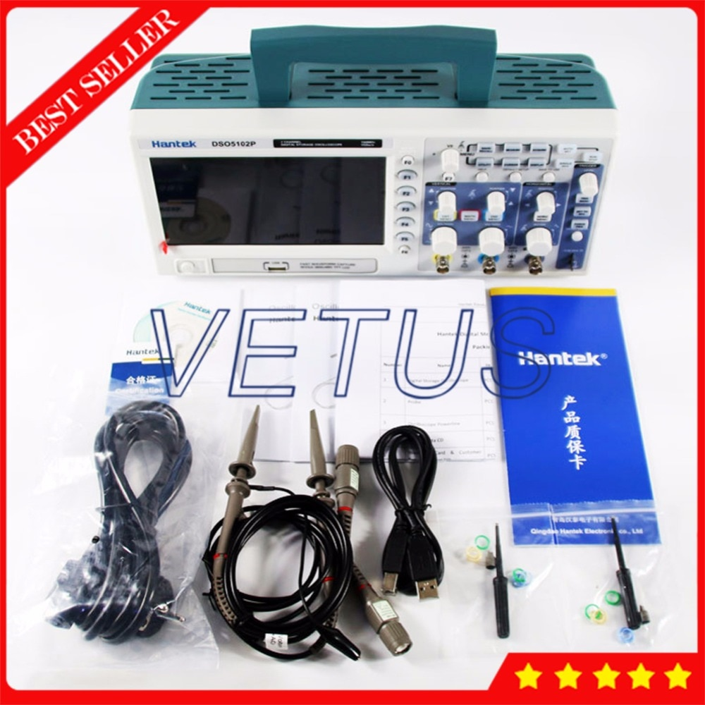 USB 2 Canais 100 Mhz Hantek DSO5102P Osciloscópio Digital Portátil LCD Handheld Osciloscópio