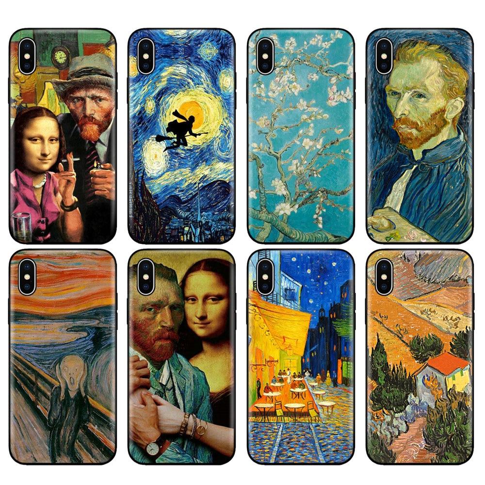 Negro tpu caso para iphone 5 5s SE 2020 6s 6 7 8 plus x 10 caso funda de silicona para iphone XR XS 11 pro Max caso Van Gogh estrella