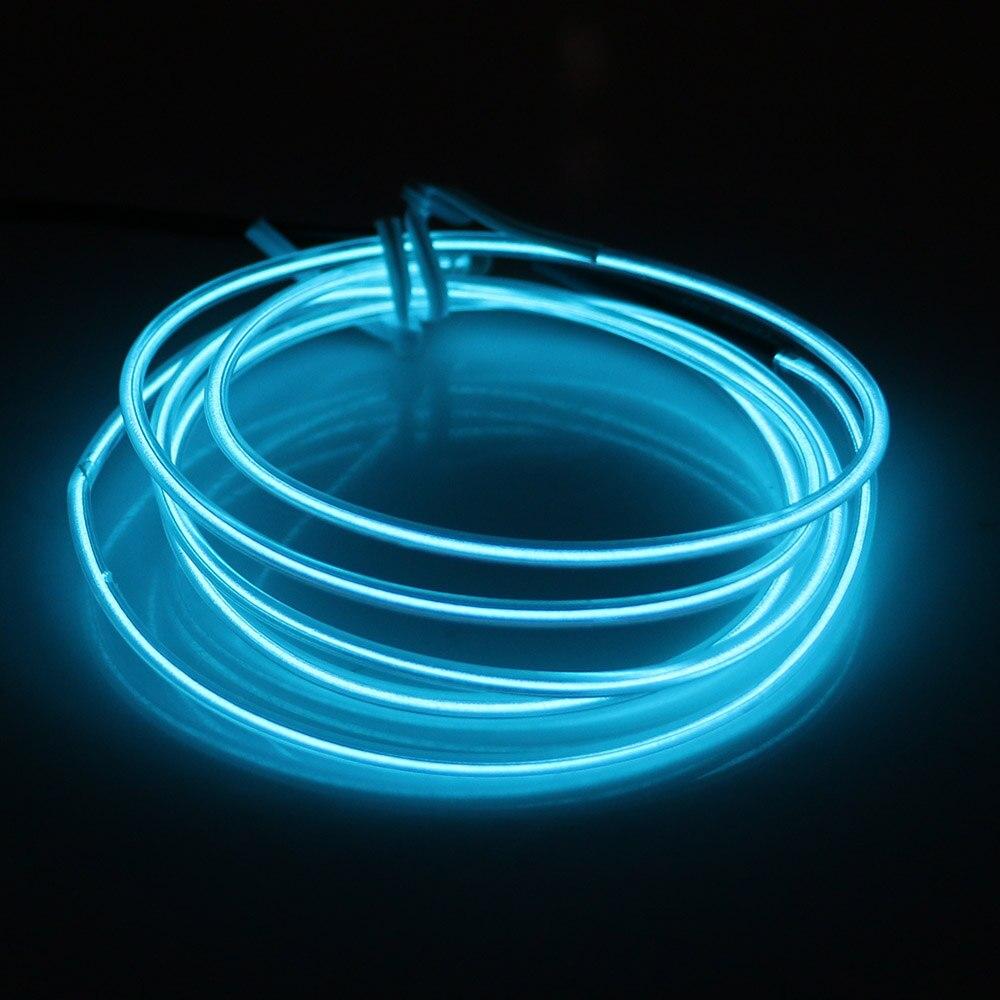 12V Cable Flexible brillante EL 1M 2M 3M luz de neón LED tira de la lámpara tubo baile fiesta decoración del coche Cadena de luz 10 colores