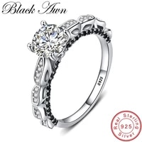 black awn 925 sterling silver jewelry finger ring trendy black spinel wedding rings for women female bague g096