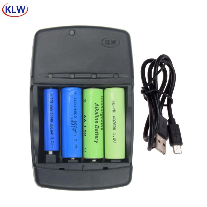 4 slot smart USB Battery Charger for AA AAA 1.2V NiMh NiCd 1.5V Alkaline 14500 16340 10440 10340 3.7V Li-ion battery charger
