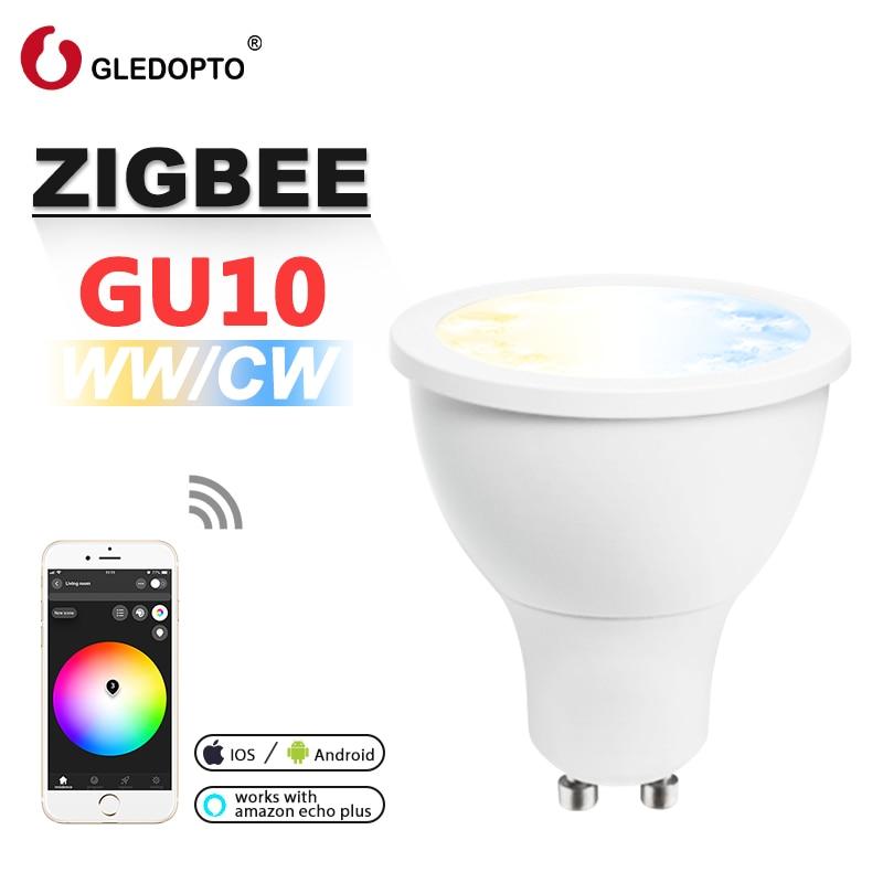 G светодиодный OPTO zigbee ww/cw dimmer GU10 bulu Светодиодный прожектор 5 Вт ZLL smart APP controll AC100-240V холодный белый и теплый белый светодиодный светильник