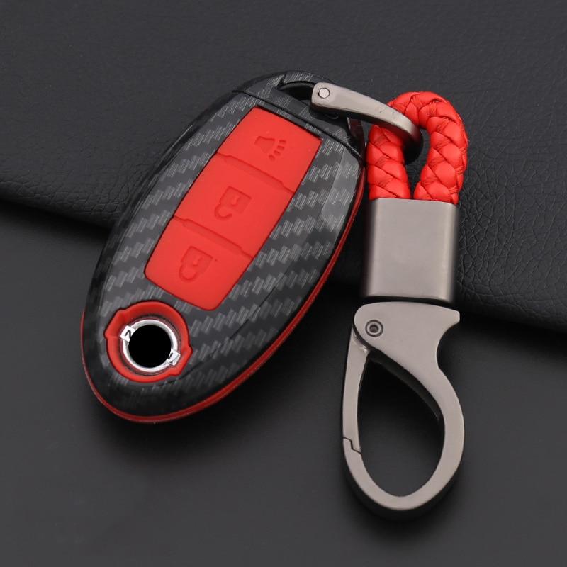 De fibra de carbono funda de silicona para la llave del coche para Nissan Tidda Livida X-Trail T31 T32 Qashqai DE MARZO DE Juke Pathfinder nota llavero GTR