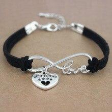 Best Friends Dog Paws Heart Unicorn Animal Infinity Love Charm Bracelets Women Men Girl Boy Unisex Jewelry 20 Colors to Choose