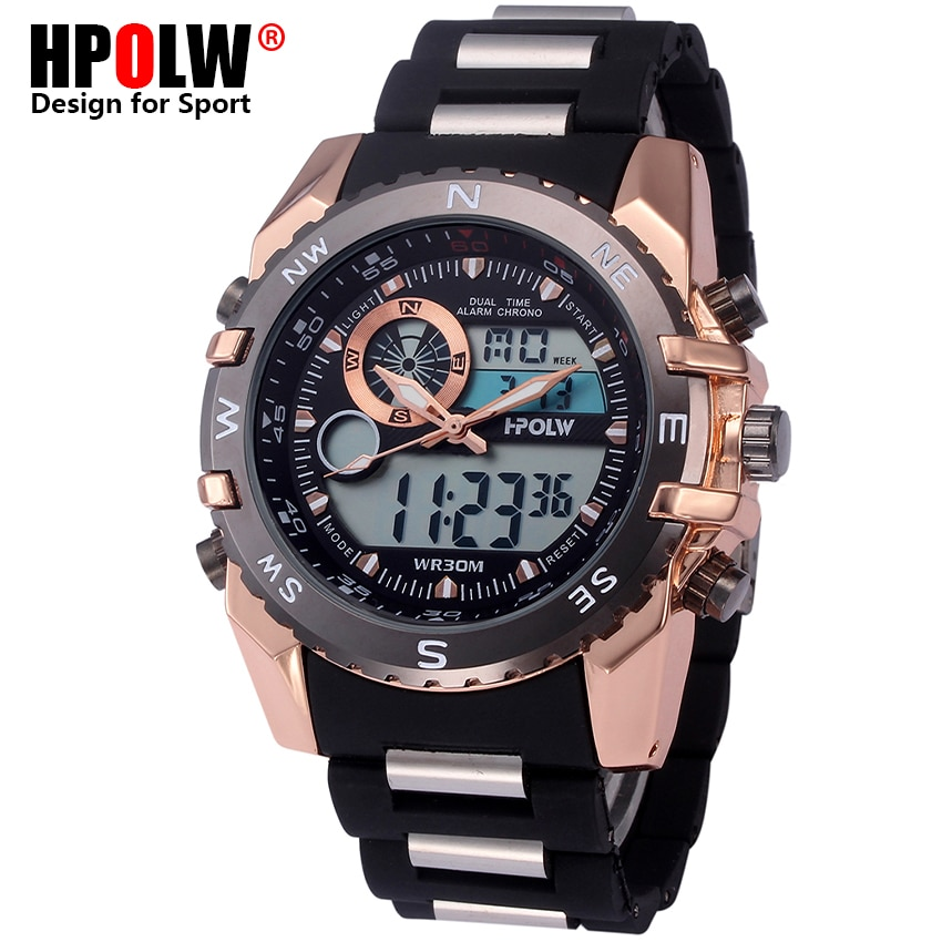 Top Brand Luxury HPOLW Men Digital LED Military Watches Men's Analog Quartz Digital Watch Outdoor Sport Watch Relogio Masculino