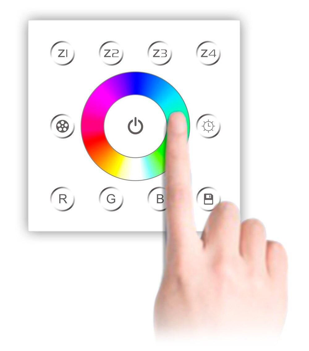 Настенный выключатель, светодиодный RGB-контроллер с 4 зонами, 5-100%
