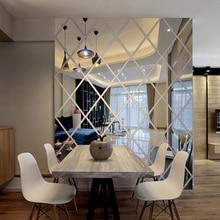 Acrylique miroir autocollant décor mural 3d stickers muraux maison salle à manger décoration auto-adhésif diamant miroir autocollant taille personnalisée