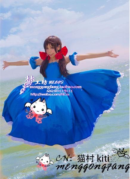 APH potencia del Eje disfraz cosplay hetalia República de Seychelles Cesealu/Cecil/Ceqiaer/Cecilia cosplay traje azul vestido