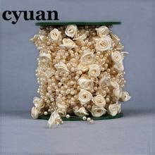 Cyuan-guirlande décorative de mariage 5 mètres   Ligne de pêche, perles artificielles, guirlande en chaîne de fleurs, décor de Table, fournitures pour fête