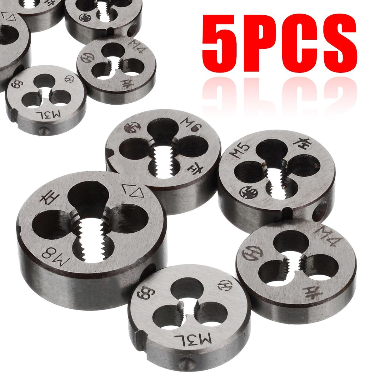 5 uds rosca métrica ing Die juego de herramientas de corte de hilo zurdo duradero M3 M4 M5 M6 M8 alta resistencia dureza rosca métrica Die