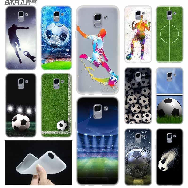 Funda blanda TPU Coque para Samsung Galaxy J6 J8 J3 J5 J7 J4 Plus 2018 2016 2017 EU Prime Pro Ace j610 balón de fútbol