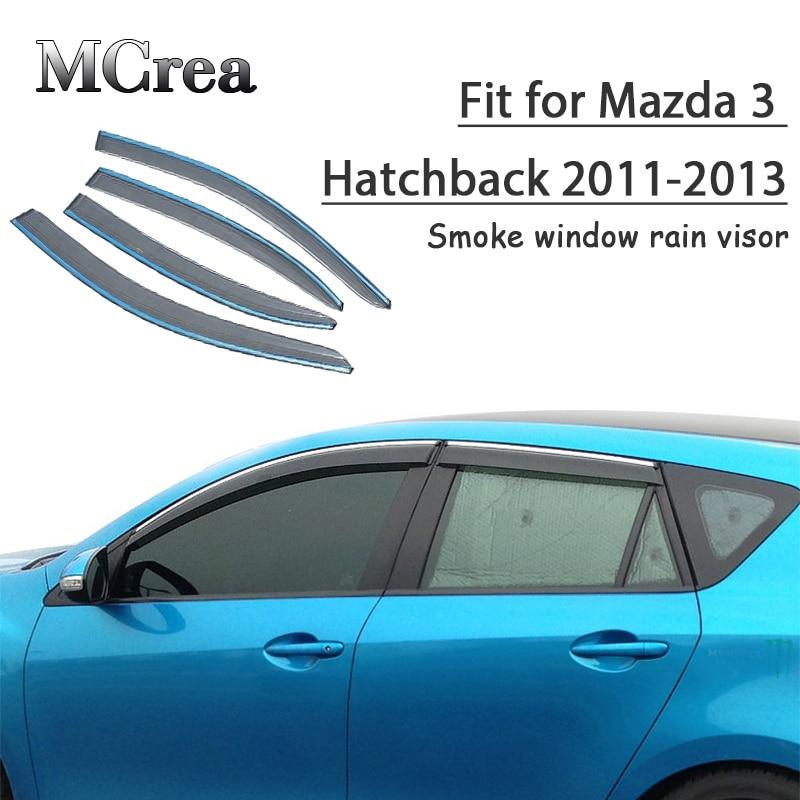 MCrea recibiendo 4 Uds estilo de coche humo ventana sol lluvia deflectores de visor para Mazda 3 Hatchback 2011, 2012, 2013