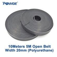 Powge 10 medidores preto htd 5 m correia dentada aberta 5 m-20mm largura 20mm arco de aço de poliuretano dente 20htd5m engrenagem de correia síncrona