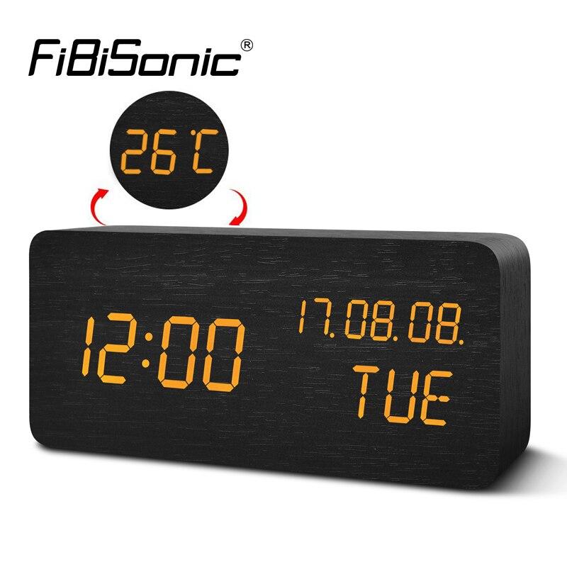 FiBiSonic Digital LED Alarm Clock Electronic Desktop Table Clock Display Temperature Alarm Clocks YY-MM-DD