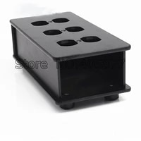 hifi black and white ac us power strip distributor aluminum 6 outlet box chassis