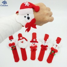 4Pcs/Set Christmas Patting Circle Bracelet Watch Xmas Children Gift Santa Claus Snowman Deer New Year Party Toy Wrist Decoration