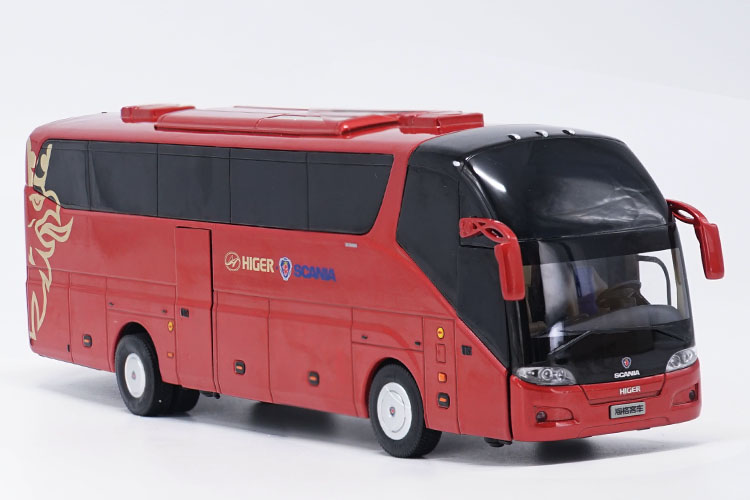 Alloy Model Gift 1:42 Scale KingLong Higer Scania A90 Road Travel Transit Bus Vehicle DieCast Toy Model Collection Decoration alloy model 1 24 scale kinglong higer bev pure electric transit bus vehicle diecast toy model for collection decoration