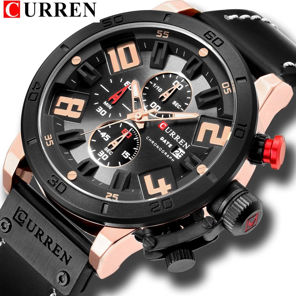 CURREN 8312 Mens Watches Top Brand Luxury Blue Glass Watch Men Watch Waterproof Leather Roman Men's Watch erkek kol saat