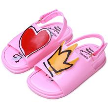 Mini Melissa Crown and Red Heart Sandals Jelly Shoe Girl Non-slip Kids Sandal Toddler  Summer Rain Shoes