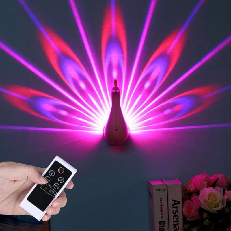 Luz nocturna de pavo real colorida, Interruptor táctil de carga USB, luz de pared de proyección, lámpara LED para cabecera, accesorio de iluminación para dormitorio