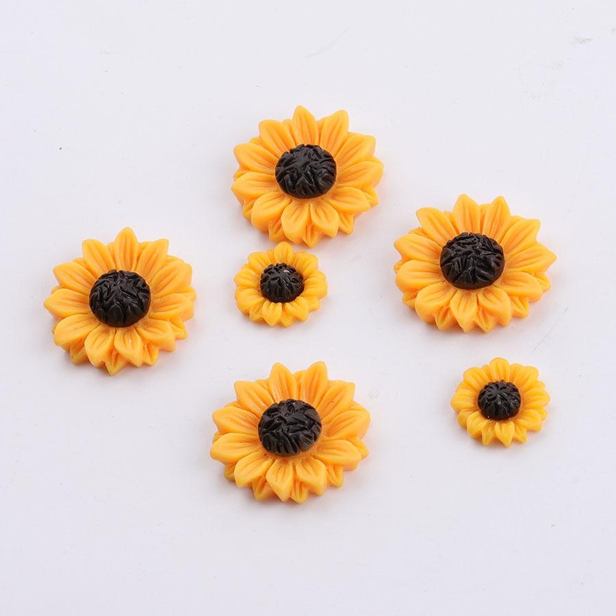 10 unids/lote margaritas flores con parte trasera plana cabujón de resina para álbum de recortes cabujón de resina plana para lazos accesorios de joyería 15/18/25mm