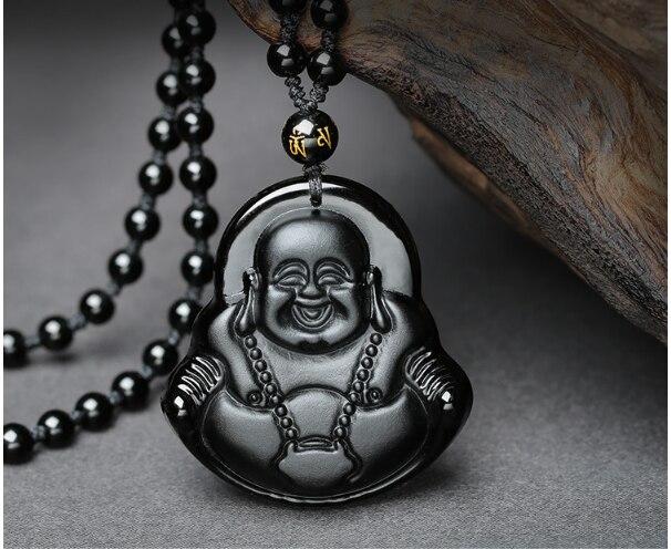 Высокое качество, уникальный натуральный черный обсидиан, ручная работа, Будда, счастье, амулет, кулон, ожерелье для женщин и мужчин, подвеск...