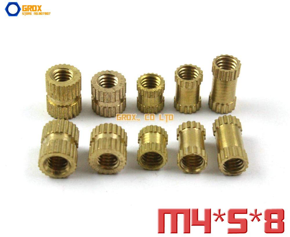 200 piezas M4 x 5x8mm (ID * OD * longitud) tuerca redonda de inserción de tuerca de latón
