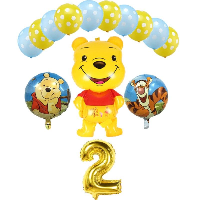 Envío Gratis globo de papel de aluminio oso y árbol de miel adornos de feliz cumpleaños globos de aire decoración del Día del Niño