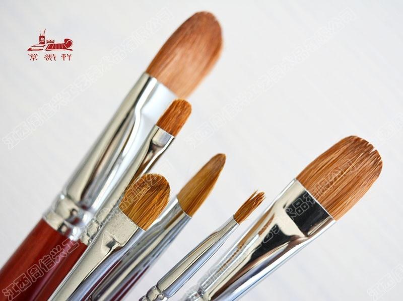 6Pcs/Set water color brush artists Weasel Hair gouache paintbrush oil paint brush brush Wooden Handle Paint Brushes art supplies