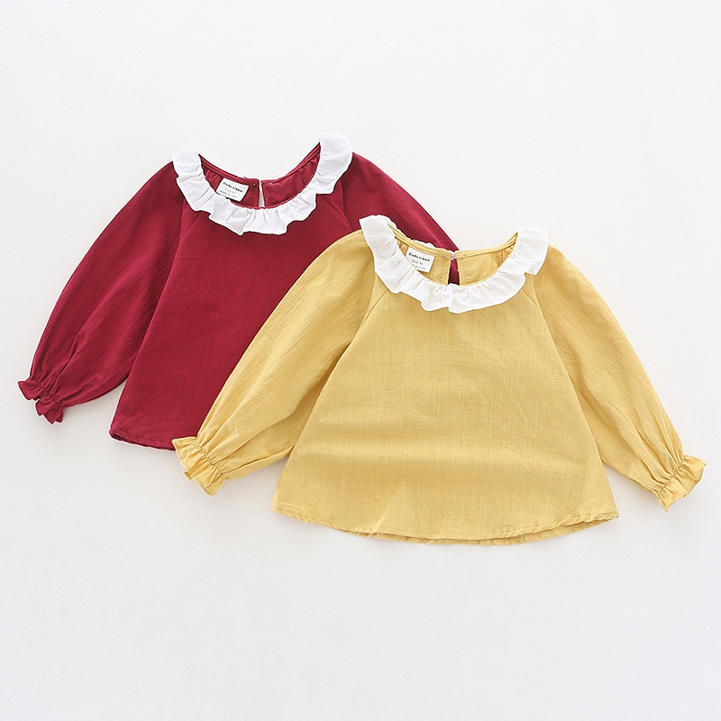 Blusas para bebés y niñas, moda 2019, camisetas para niños, camisetas para niñas, Ropa para Niñas, camisas de manga larga de 5 colores caramelo para otoño y primavera