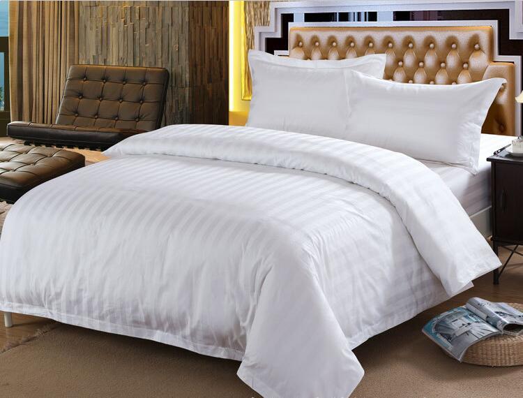 Juego de cama de Hotel 60S de algodón de rayas blancas 4 Uds. Juego de cama King Queen, juego de edredón, sábanas para habitación de invitados al por mayor