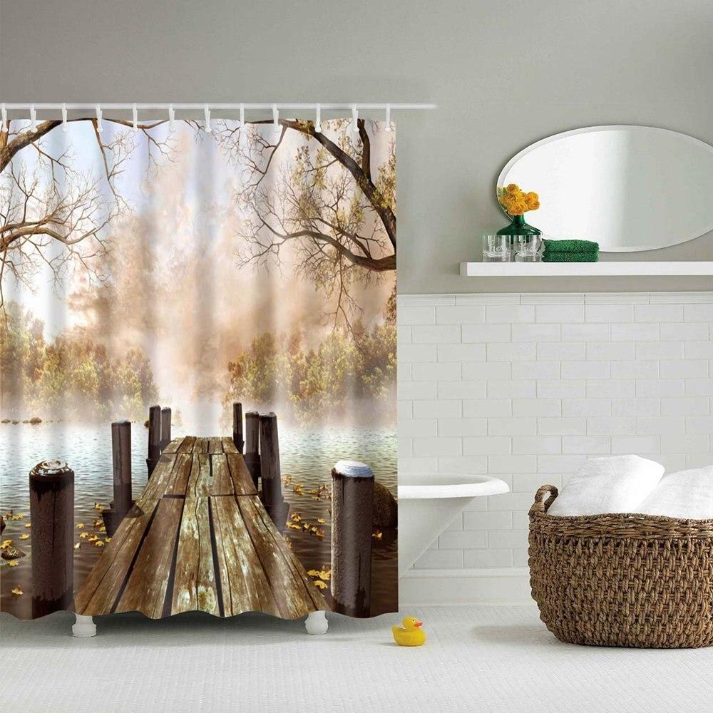 Dafield krajobraz natura zasłona prysznicowa jezioro drewniany most las górski tkanina poliestrowa zasłona prysznicowa wanna zestaw z hakami