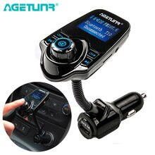 "AGETUNR T10 1.44 ""Bluetooth Car Kit Handsfree Set Fm-zender MP3 Muziekspeler 5V 2.1A USB Autolader ondersteuning AUX In & Out"