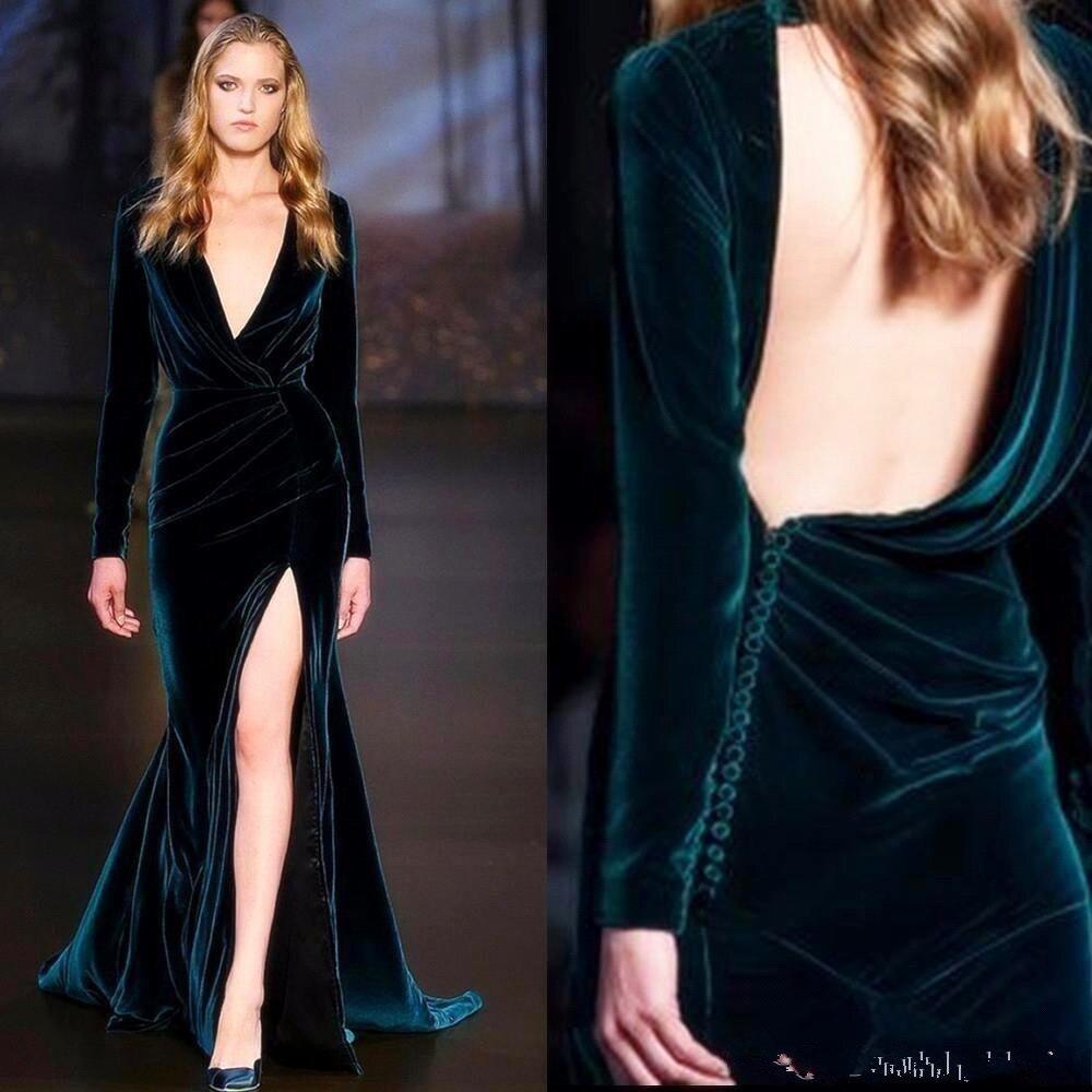 2019 V Neck Velvet Long Sleeves Evening Dresses Ruched Backless Split Runway Formal Party Gowns