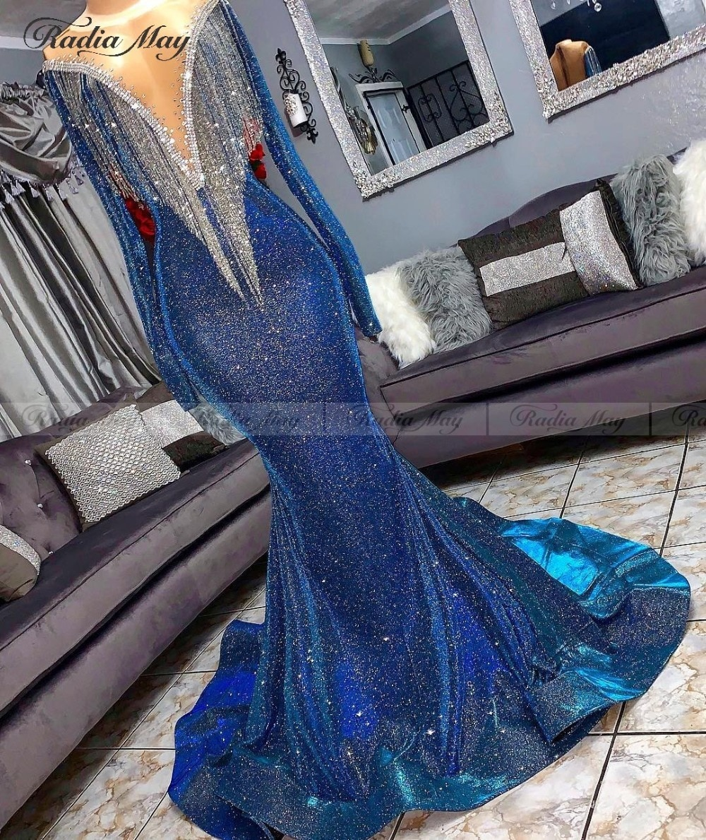 Glitter Sequin borla sirena azul real vestido negro para baile de graduación niñas mangas largas cuello pico corte tren africano Vestido largo de Graduación