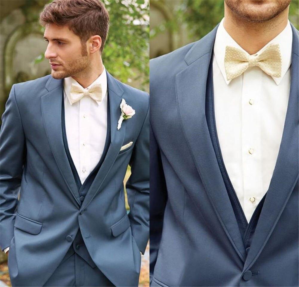 Traje de padrino de boda, traje de hombre, traje de hombre, traje de novio, esmoquin delgado, para hombre, atractivo 2017, azul (chaqueta + pantalones + chaleco)