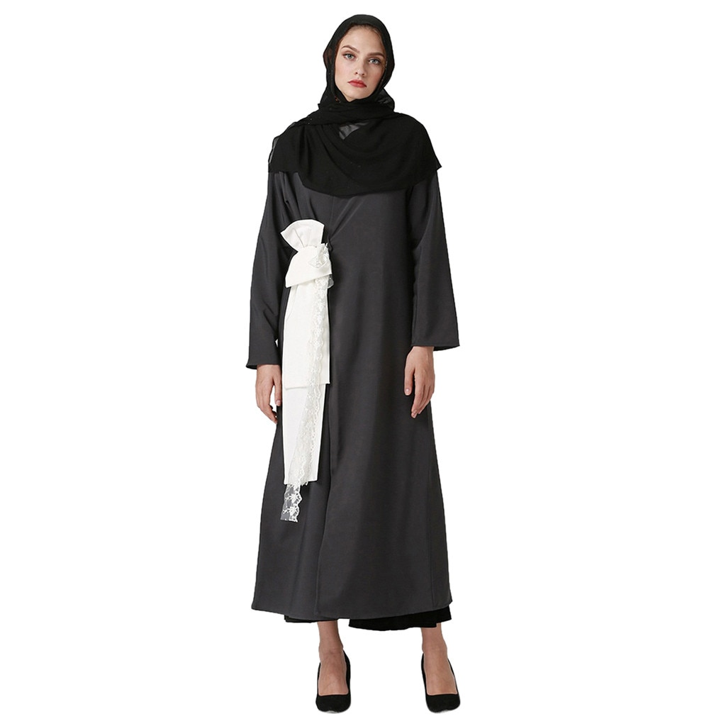 Moda musulmán vestido de encaje Abaya ropa islámica abierto Abaya mujeres largo Cardigan vestido musulmán Kimono Jilbab Dubai Kaftan Z411