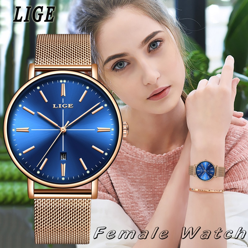 Women Watches LIGE Top Brand Luxury Ladies Mesh Belt Ultra-thin Watch Stainless Steel Waterproof Clock Quartz Watch Reloj Mujer