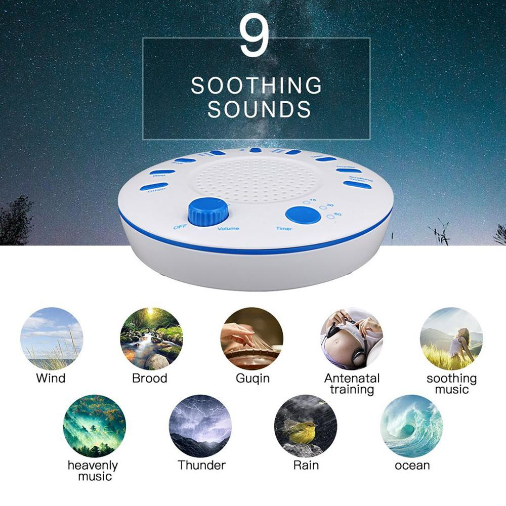 White Noise Machine USB /AA Battery 9 Natural HD Sound Machine Tranquility Sleep Therapy Relaxing Sound Timer Baby /Adult Travel