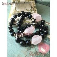 Dzi Agates Beads Bracelet Rose Quartzs Nugget Bracelet Black Onyx BM11304