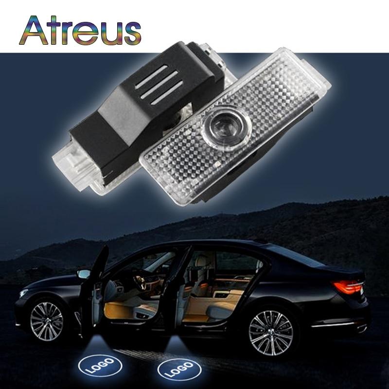 Atreus 2X LED Courtesy Lamp Car Door Welcome Light 12V Projector For BMW E60 E63 E90 E92 E93 X1 X3 X6 M3 M5 M logo Accessories