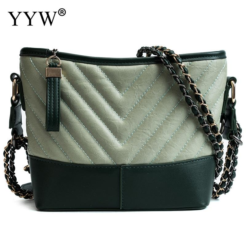 Casual Large Capacity Shopping Bag Women Soft Geometric Chain Bucket Crossbody Bags Female Zipper Travel Handbag White Silver