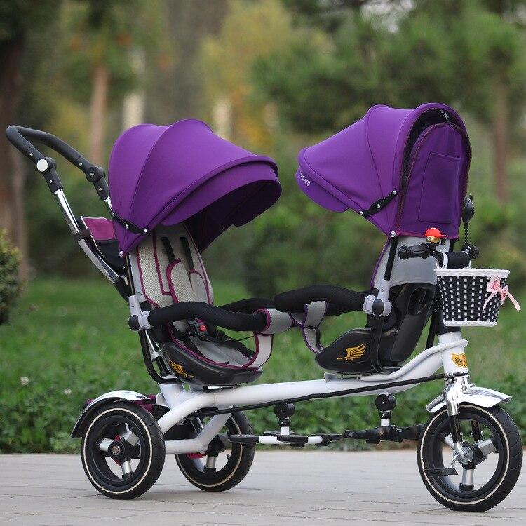 ¡Envío gratis! Triciclo doble Jin Ming para niños, asiento de bicicleta de doble mano, cochecito de bebé bidireccional, fabricantes en venta