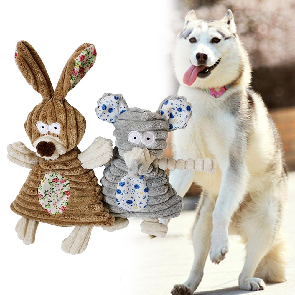 Dog Toys Pet Puppy Chew Squeaker Squeak Plush Sound Cute Rabbit Elephant Stuffed Dog Squeaking Toy