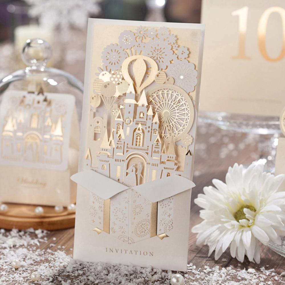 Wishmade 1 Uds 3D invitaciones de boda dorado champán rojo corte láser invitaciones tarjetas de la novia y el novio castillo para la ducha nupcial