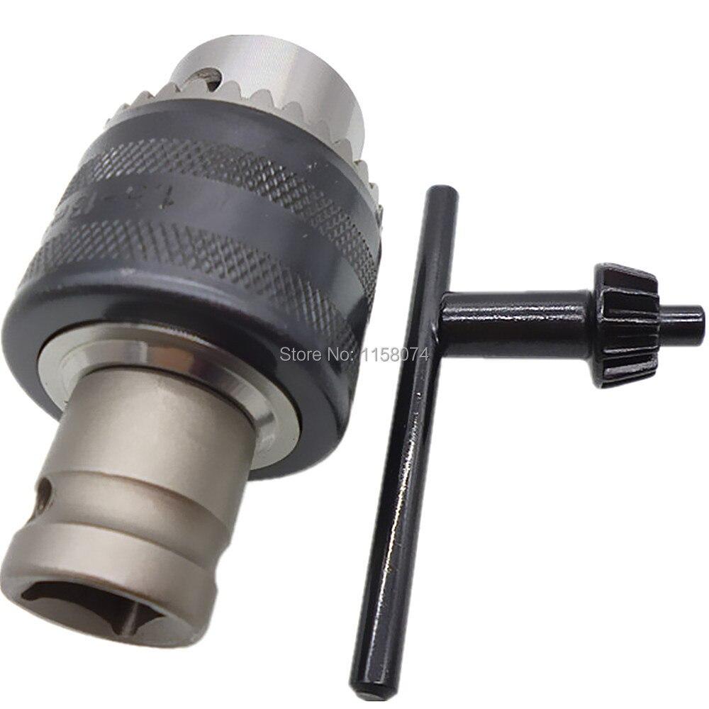"""13mm 1/2 """"Unf Tipo de llave taladro Chuck llave taladro sujeción de mandriles rango de 1,5mm-13mm con 1/2"""" hembra del eje adaptador Chuck clave"""