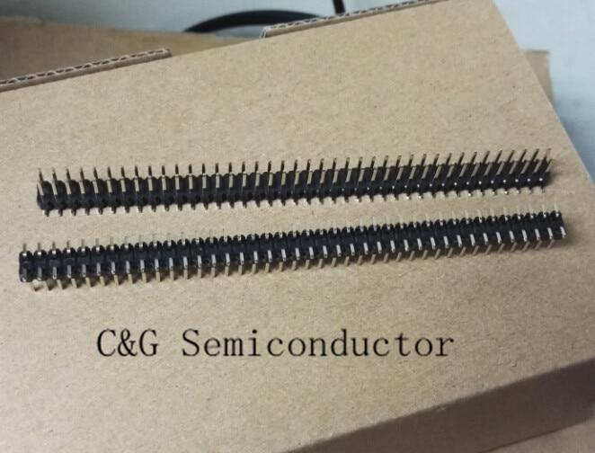 10 Uds 2,54mm Paso 2x40 Pin 80 Pin doble fila SMT SMD tira de cabeceras de clavija macho conector de 2,54mm