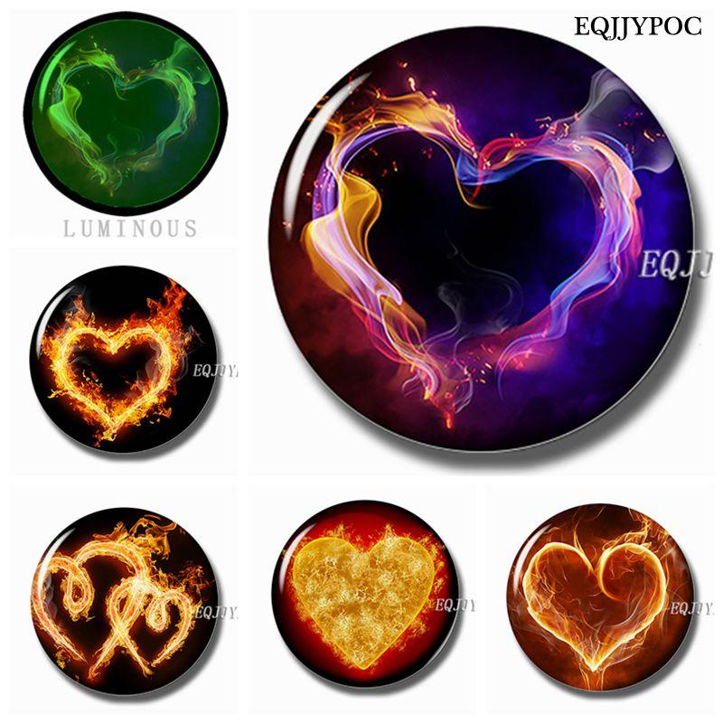 Светящиеся магниты в форме сердца для холодильника, 30 мм, магниты для заметок на холодильник, стеклянные купольные магнитные наклейки для холодильника, домашний декор «сделай сам»